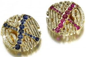 Pair of Fabergé Jewelled Gold Cufflinks. Photo: Sotheby's.