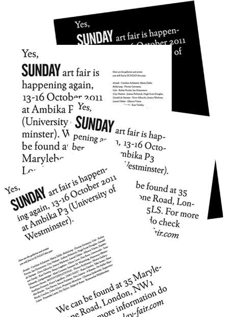 SUNDAY art fair 13-16 October 2011