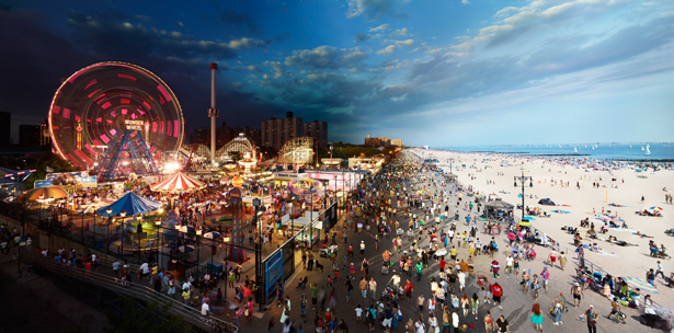 "Stephen Wilkes, ""Coney Island, Day To Night,"" 2011.  Digital C-print, 40 x 80 inches. Courtesy Monroe Gallery of Photography."