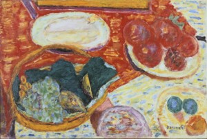 """Pierre Bonnard (French, 1867–1947), """"Still Life with Ham,"""" 1940. Oil on canvas, 17 x 25 inches, © 2012 Artists  Rights Society (ARS), New York / ADAGP, Paris. Photo by Jean Paul Torno."""