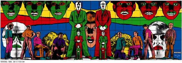 "Gilbert & George, ""Waking,"" 1984. Photo-piece, 363 x 1,111 cm. Guggenheim Bilbao Museoa GBM1997.28. © Gilbert & George"
