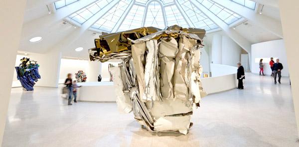 "Installation view: ""John Chamberlain: Choices,"" Solomon R. Guggenheim Museum, New York, February 24–May 13, 2012. Photo: David Heald © The Solomon R. Guggenheim Foundation."