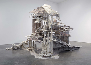 Diana Al-Hadid, Trace of a Fictional Third, 2011. Steel, wood, polymer gypsum, fiberglass and paint, 120 x 240 x 156 inches. The George Economou Collection, Amaroussion, Greece. Image courtesy of Marianne Boesky Gallery, New York. Photo: Jason Wyche, New York.