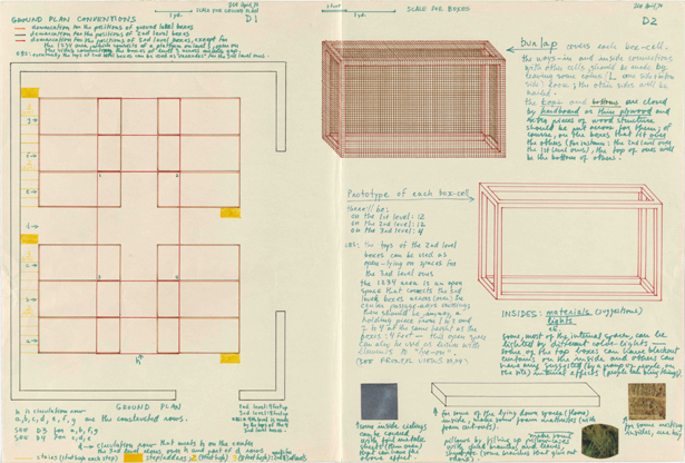 Plans for Barracao Experiment 2 (related to former Nests experiments), included in the Museum of Modern Art's 1970 exhibition Information, 1970.