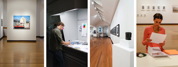 Left to right: Installation view, Joseloff Gallery; Morgan Ashcom (class of 2013); installation view, Joseloff Gallery; Robin Dahlberg (class of 2015). Two images at left are courtesy of Daniel Reuter (class of 2013); two images at right are courtesy of Chad Champoux Photography.