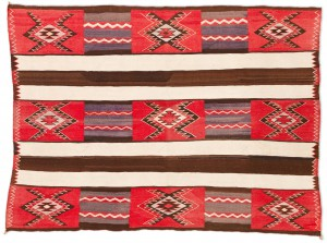 Red Mesa Navajo Transitional Chiefs Blanket/Rug, 1915-1925, 76 inches x 57 inches
